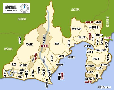 静岡県の地図 大井川の位置
