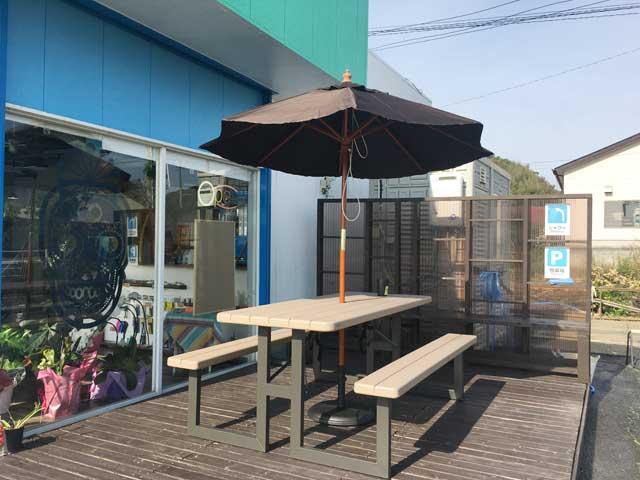湖西市にある海辺の南国風カフェ「growcafe」テラス席