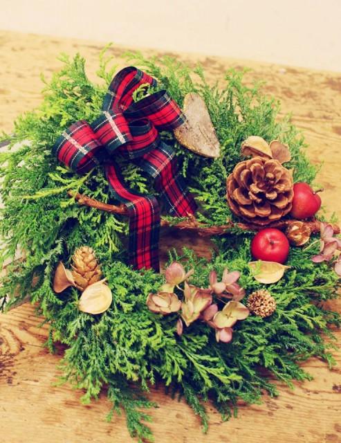 手作りクリスマスリース体験:花屋杢兵衛