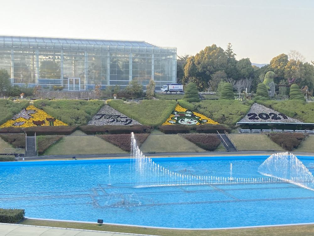 はままつフラワーパーク:噴水池周りの三角花壇