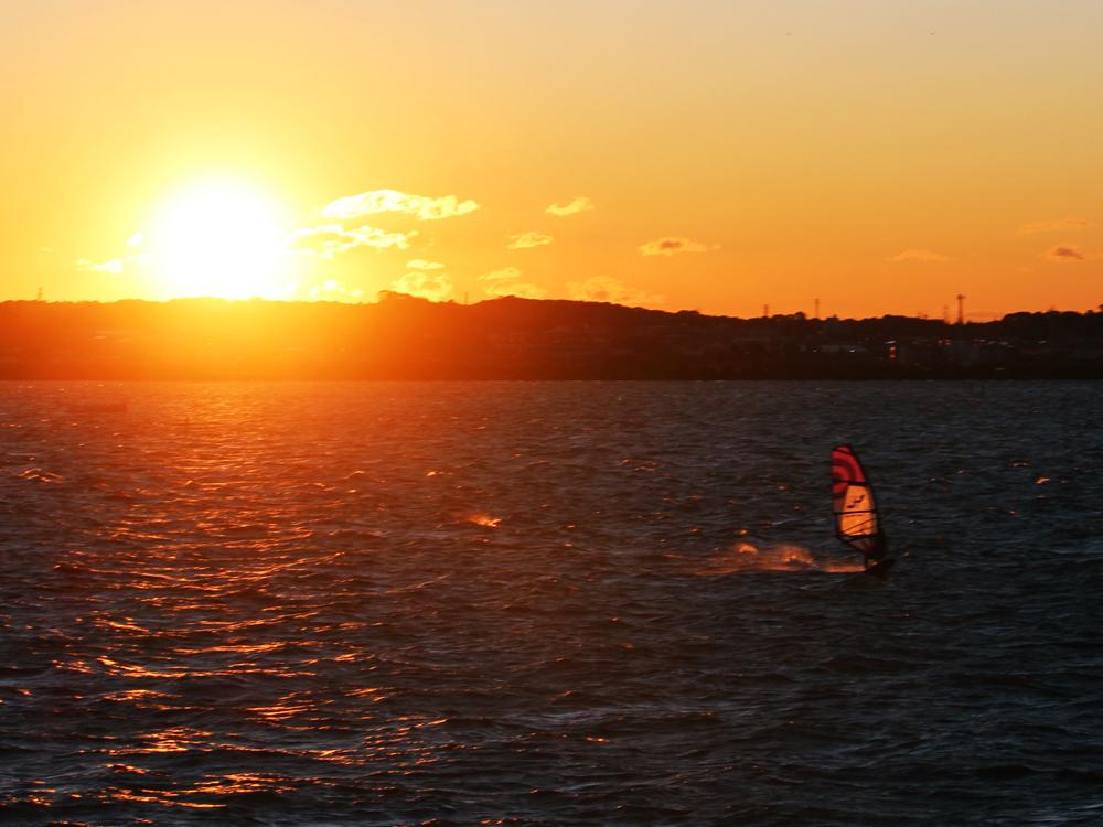 浜名湖村櫛海岸夕日:ウインドサーフィン