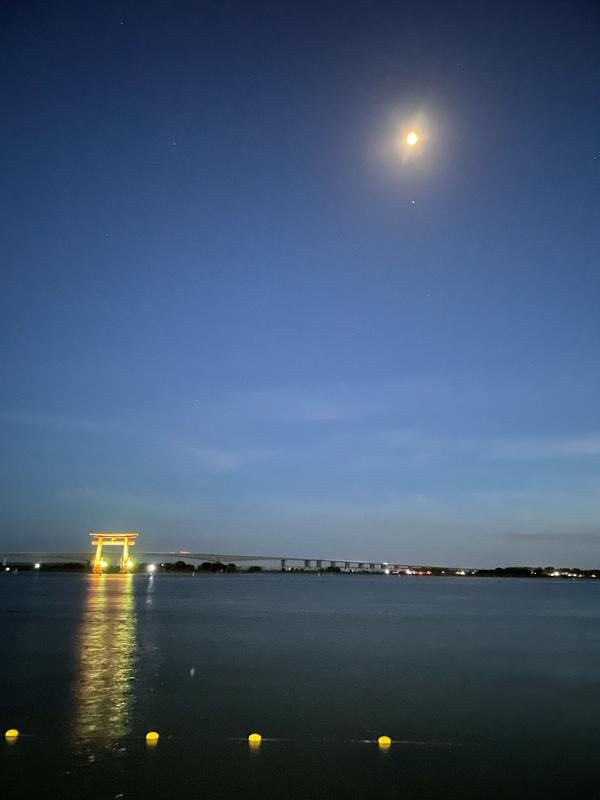 弁天島鳥居のライトアップと月夜